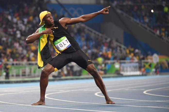 Jamaica's Usain Bolt does his 'Lightenin