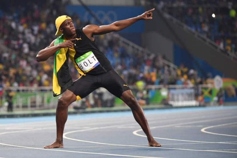 Jamaica's Usain Bolt does his 'Lightenin